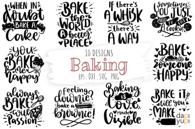 Baking Quotes Bundle, Kitchen Quotes SVG, Baking SVG Lettering Quotes