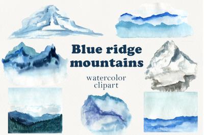 Blue ridge mountains clipart, Watercolor landscape