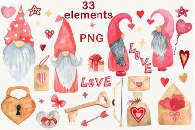 Valentine gnomes clipart, Watercolor heart lock
