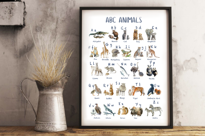 Watercolor Abc Animals Posters