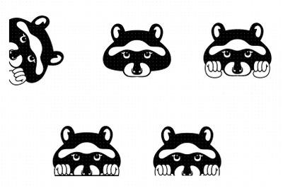 peeking raccoon svg, clipart, png, dxf logo