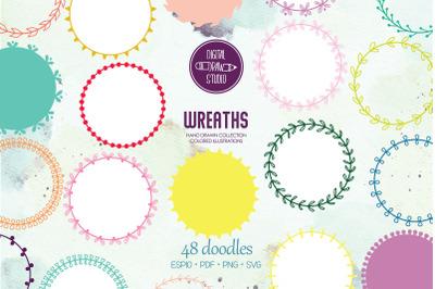 Color Wreaths | Hand Drawn Borders, Floral Frames, Laurel