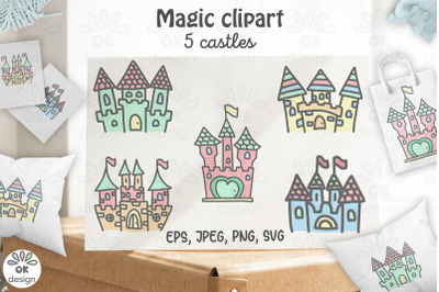 Castle clipart. Baby shower clipart, magic unicorn graphics.