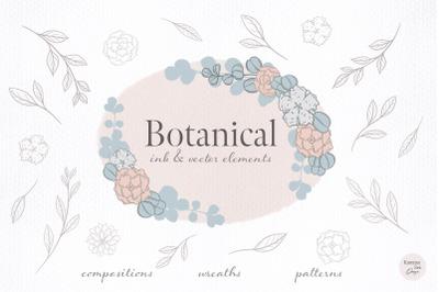 Botanical ink & vector clip art