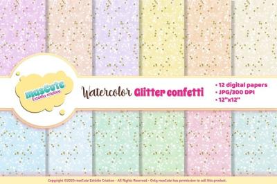 Digital Paper Watercolor polka dots