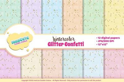 Digital Paper Watercolor glitter confetti