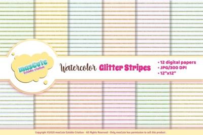 Digital Paper Watercolor stripes