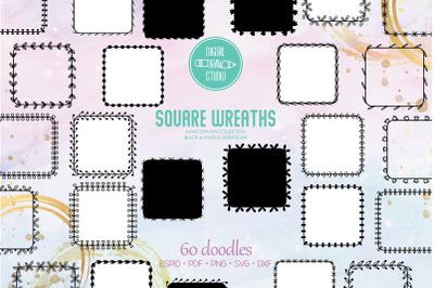 Square Wreaths | Hand Drawn Floral Border, Laurel Frame