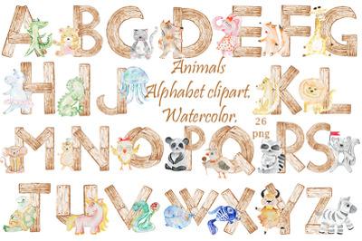 Alphabet. Animals. Watercolor. PNG