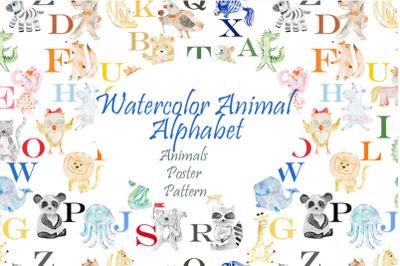 Alphabet. Animals. Watercolor.