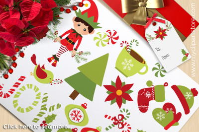 Christmas Joy - Elf and Snow Globe Vector Clipart