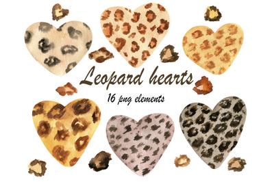 Watercolor leopard heart png clipart
