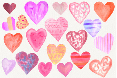 Watercolor pink hearts clipart. Valentines day png