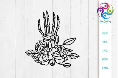Floral Hand Bones Svg Cut File