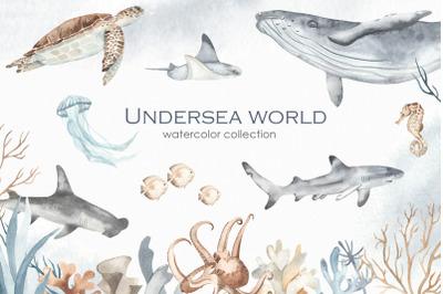 Undersea world watercolor