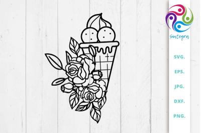 Floral Ice Cream SVG File