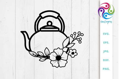 Floral Tea Pot SVG File