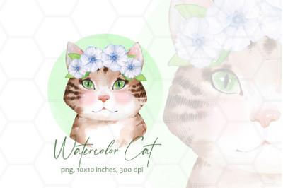 Watercolor cat in wreath