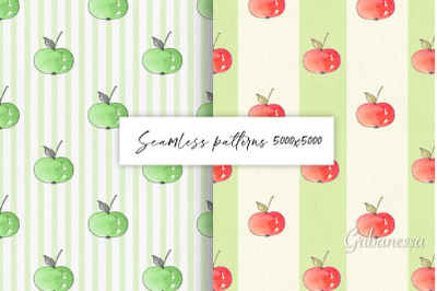 rns of apples. 4 seamless backgrounds