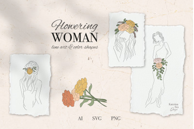 Flowering woman vector clip art