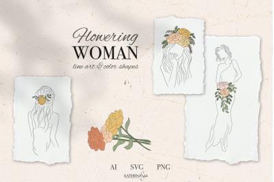 Flower head line art woman