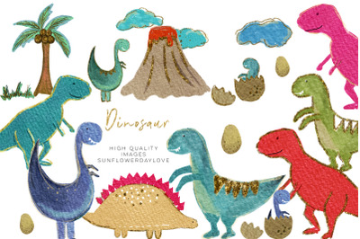 Colorful Dinosaur watercolor clipart, Cute Dinosaur Clipart,