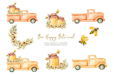 Bee Happy Botanical Clipart, Bees Clip Art, Bee Floral Planner Sticker