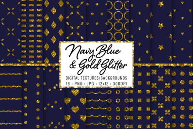 Navy Blue and Gold Glitter Patterns