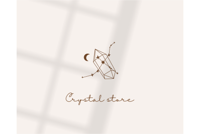 Logo design, logo template,moon and crystal, stars and zodiac signs