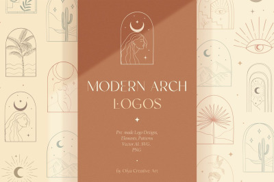 Bohemian Modern Arch Logo Designs, Elements and Patterns Collection.