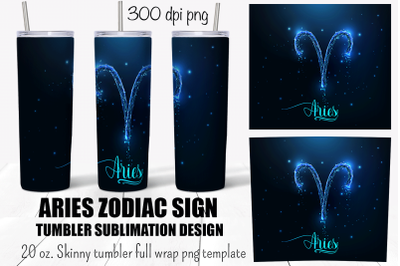 Aries zodiac sign tumbler sublimation design. Full wrap png.