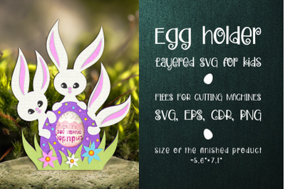 Easter Bunnies -Chocolate Egg Holder Template SVG