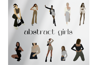 Abstract girls, models in vector, black  woman, clipart svg, african a