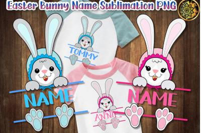 Easter Bunny Split Monogram Sublimation PNG Clip Art