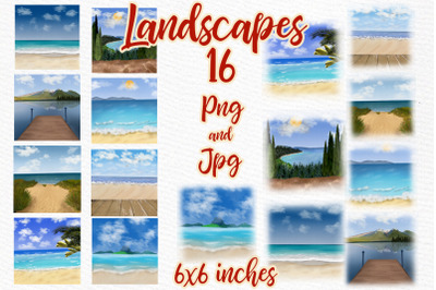 Summer Landscapes clipart Beach landscape Mug templates