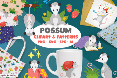 Possum Clipart and Patterns