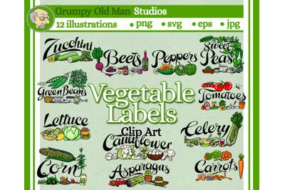 Vegetable garden label bundle clip art pack