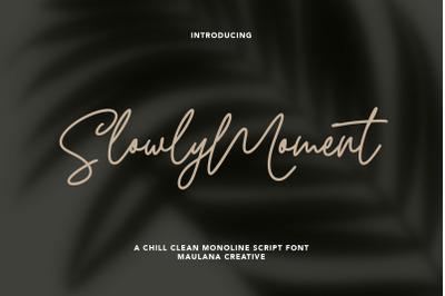 Slowly Moment Clean Monoline Script Font