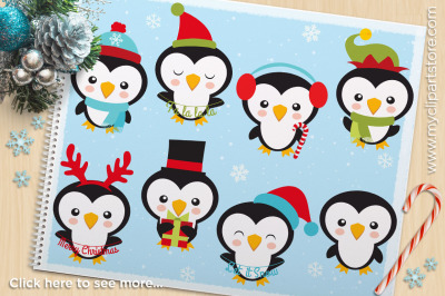 Cute Christmas Penguins Vector Clipart