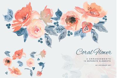 Watercolor Coral & Dusty Blue Floral Clip Art
