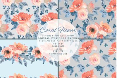 Watercolor Coral Flowers Digital Paper Scrapbook Papers