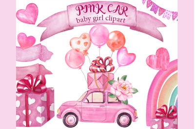 Watercolor pink car clipart. Retro car for girl, car with balloons