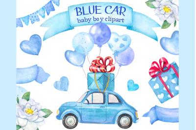 Watercolor blue car clipart. Retro car for boy, car with balloons
