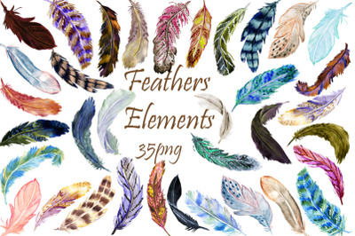 Watercolor Feathers Clipart. 4 Patterns, 4 Wreaths.