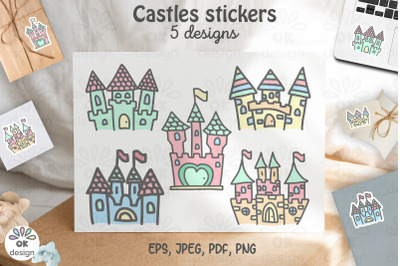 Castle Stickers. Printable 5 designs. PNG, JPEG, PDF files.