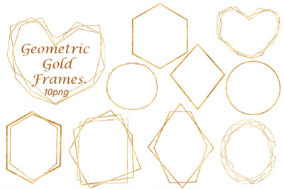 Geometric Gold Frames. Watercolor Collection. 10PNG. 10 JPG.