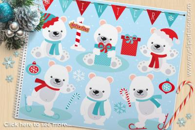 Winter Polar Bear Vector Clipart