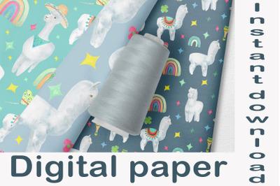 Llama digital paper, Watercolor seamless pattern