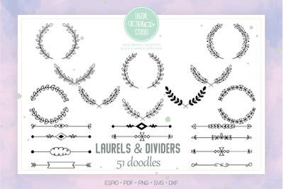 Laurels & Divider | Hand Drawn Floral Border, Leafy Wreath