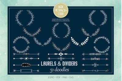 White Laurels & Divider | Hand Drawn Floral Border, Leafy Wreath